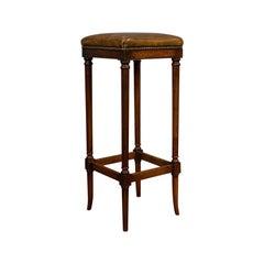 Tall Vintage Stool, English, Leather, Mahogany, Bar, Breakfast, Seat, circa 1980