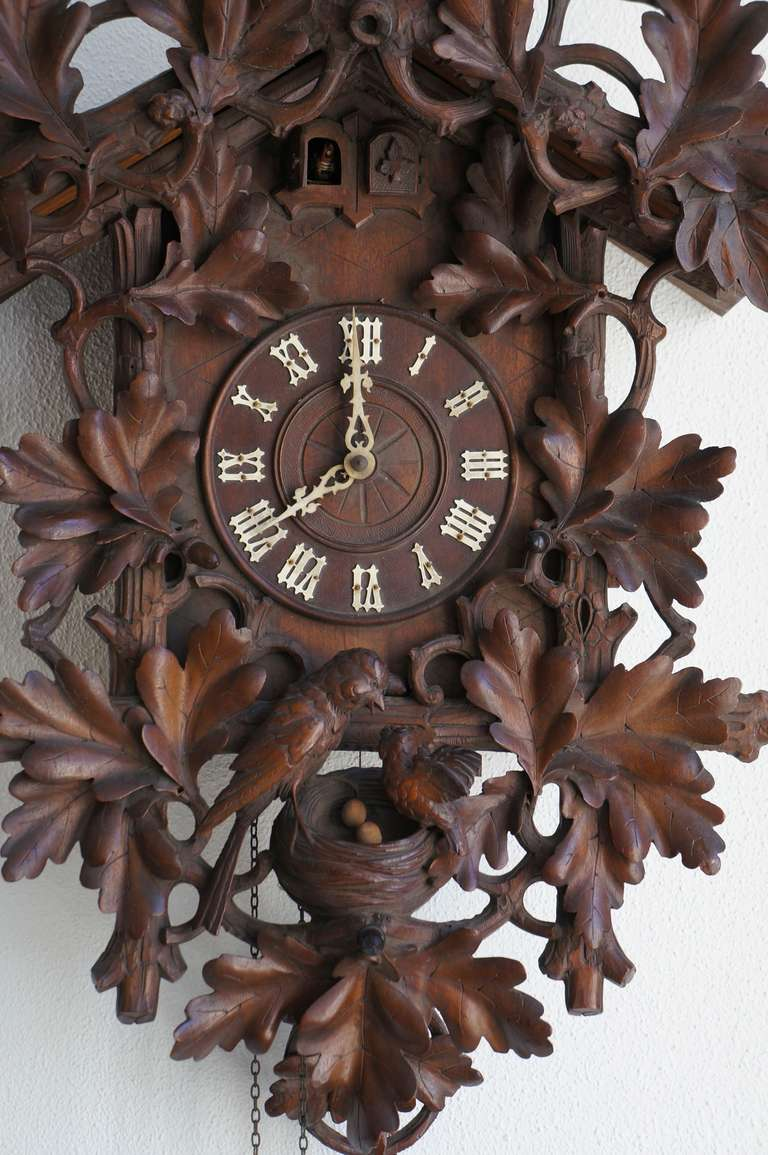 German Tall Walnut Black Forest Cuckoo's Clock, Late 19th Century For Sale