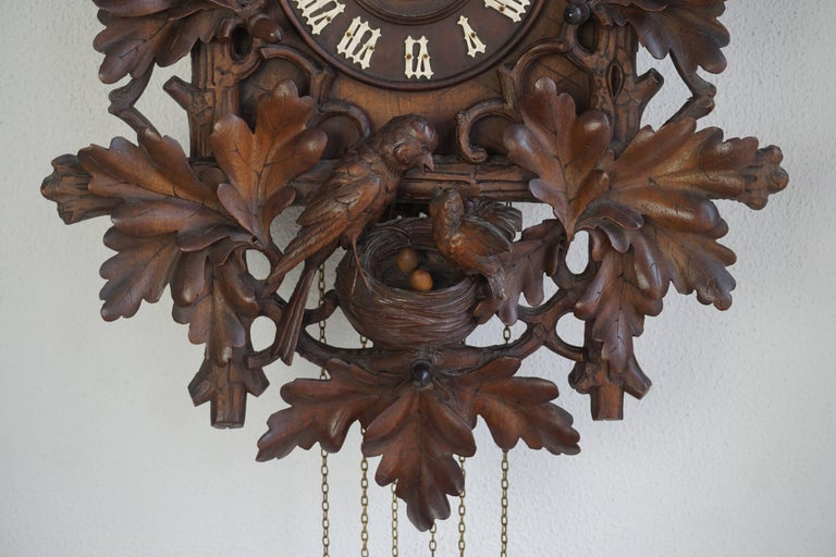 Tall Walnut Black Forest Cuckoo's Clock, Late 19th Century In Good Condition For Sale In Antwerp, BE