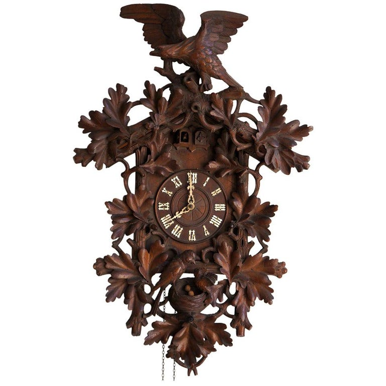 Tall Walnut Black Forest Cuckoo's Clock, Late 19th Century For Sale