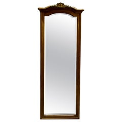 Tall Walnut Framed Pier Mirror with Ormolu Mount and Bevelled Glass