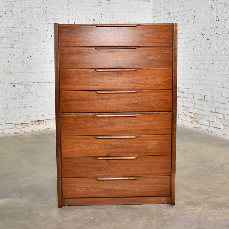 American Tall Walnut Scandinavian Modern Style Chest of Drawers by Barzilay Furniture Mfg For Sale