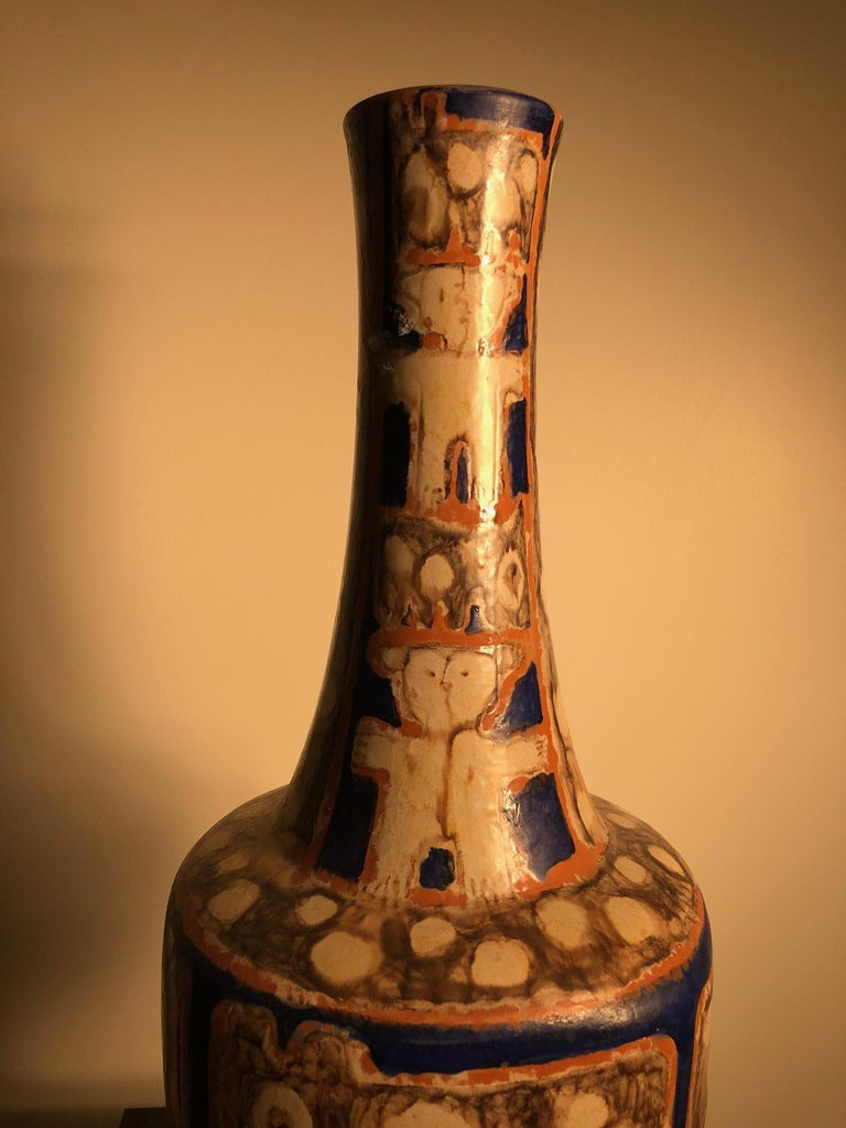Tall  Whimsical Vase-Lamp Base Teddy Bear & Friends Handmade Eva Fritz-Lindner In Good Condition For Sale In Shelburne, VT