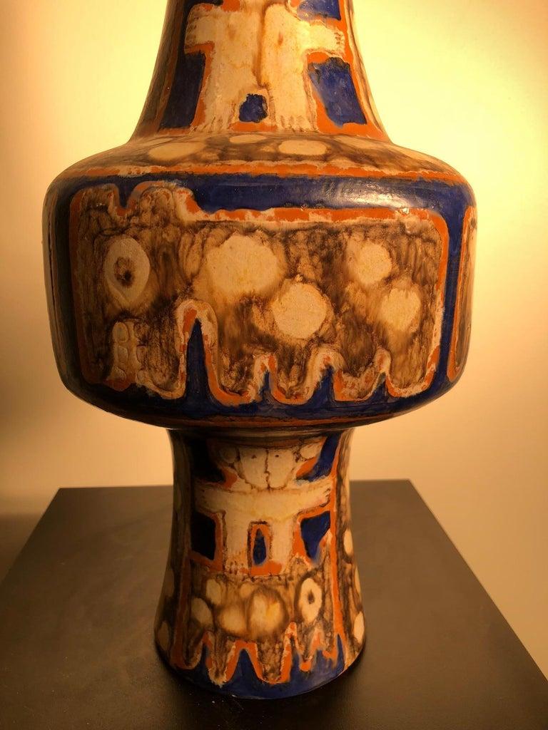20th Century Tall  Whimsical Vase-Lamp Base Teddy Bear & Friends Handmade Eva Fritz-Lindner For Sale