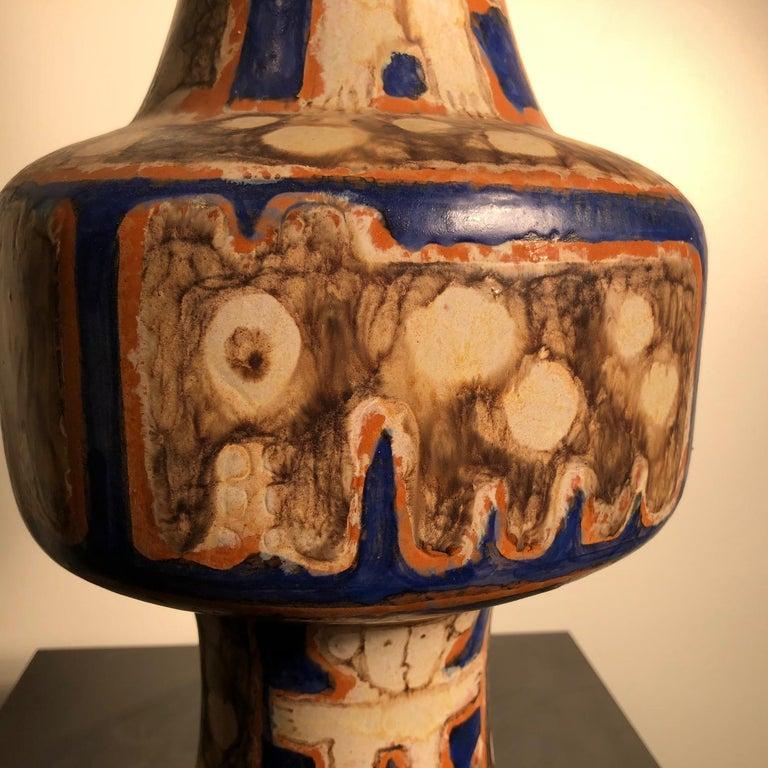 Ceramic Tall  Whimsical Vase-Lamp Base Teddy Bear & Friends Handmade Eva Fritz-Lindner For Sale