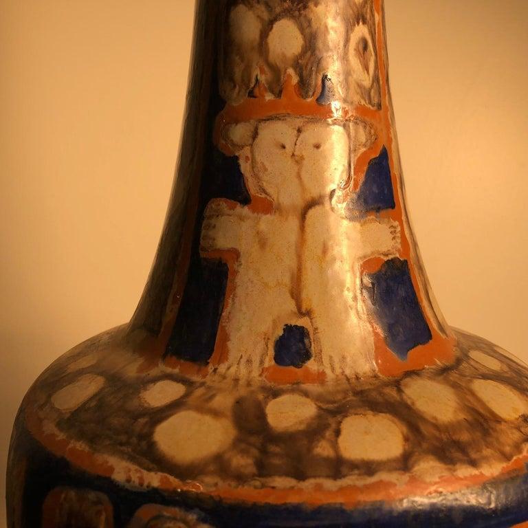 Tall  Whimsical Vase-Lamp Base Teddy Bear & Friends Handmade Eva Fritz-Lindner For Sale 2