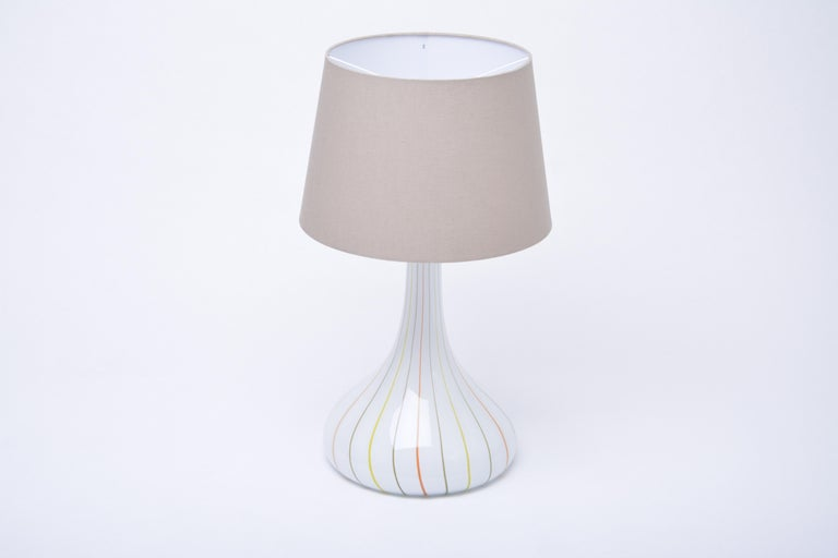 Danish Tall White Glass Table Lamp model