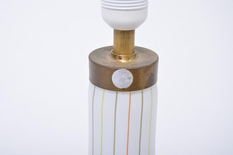 20th Century Tall White Glass Table Lamp model