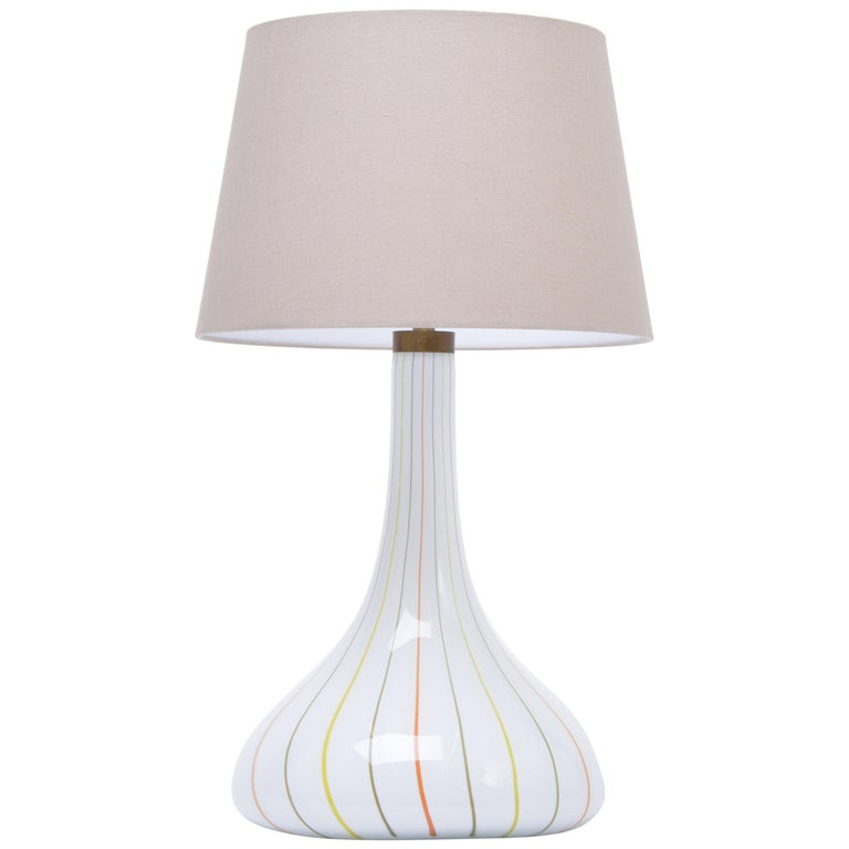 """Tall White Glass Table Lamp model """"Candy"""" by Kylle Svanlund for Holmegaard For Sale"""