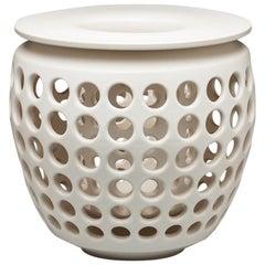 Tall White Pierced Ceramic Candle Lantern