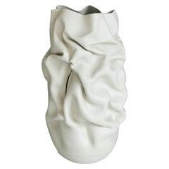 Tall White Slashed Crumpled Form, Unique Ceramic Sculpture Vessel N.60