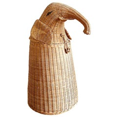 Tall Wicker and Rattan Decorative Elephant Storage Basket after Mario Torres