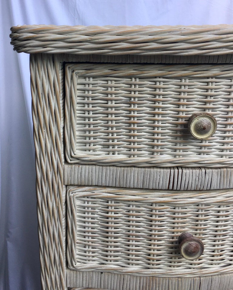 20th Century Tall Wicker Curved Serpentine Lingerie Chest of Drawers For Sale