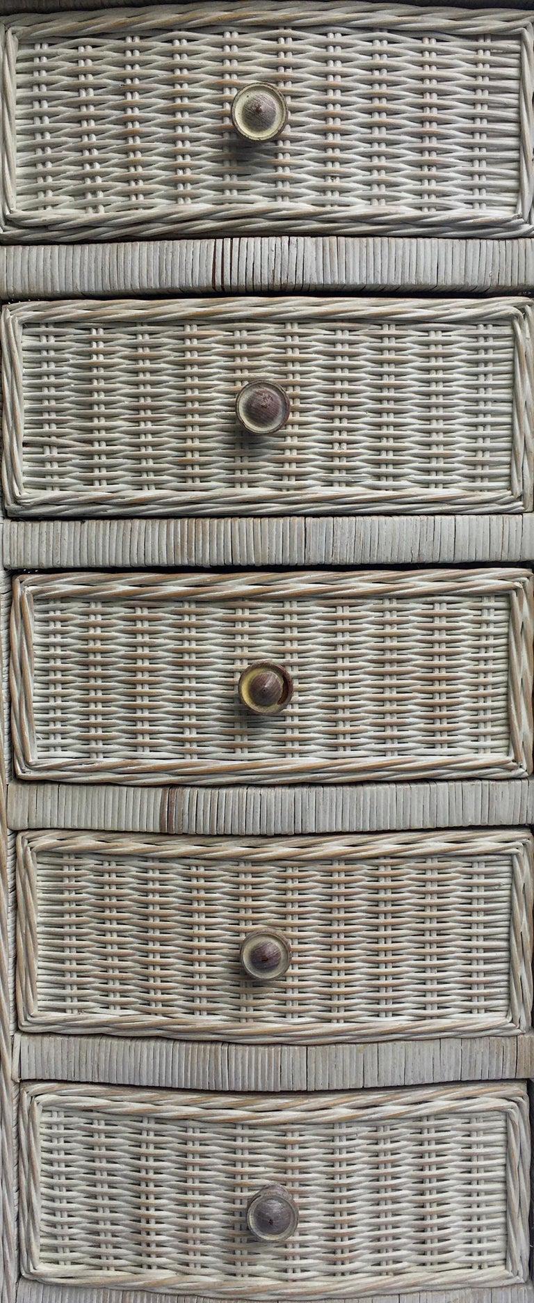 Tall Wicker Curved Serpentine Lingerie Chest of Drawers For Sale 2