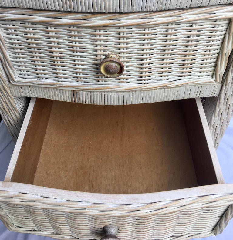 Tall Wicker Curved Serpentine Lingerie Chest of Drawers For Sale 3