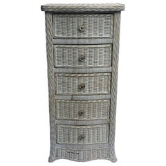 Tall Wicker Curved Serpentine Lingerie Chest of Drawers
