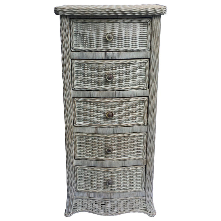 Tall Wicker Curved Serpentine Lingerie Chest of Drawers For Sale