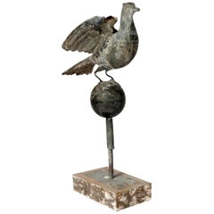 Tall Zinc Bird on a Sphere with a Stand