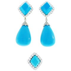 Tallarico Turquoise Diamond White Gold Earrings Ring Set Day and Night