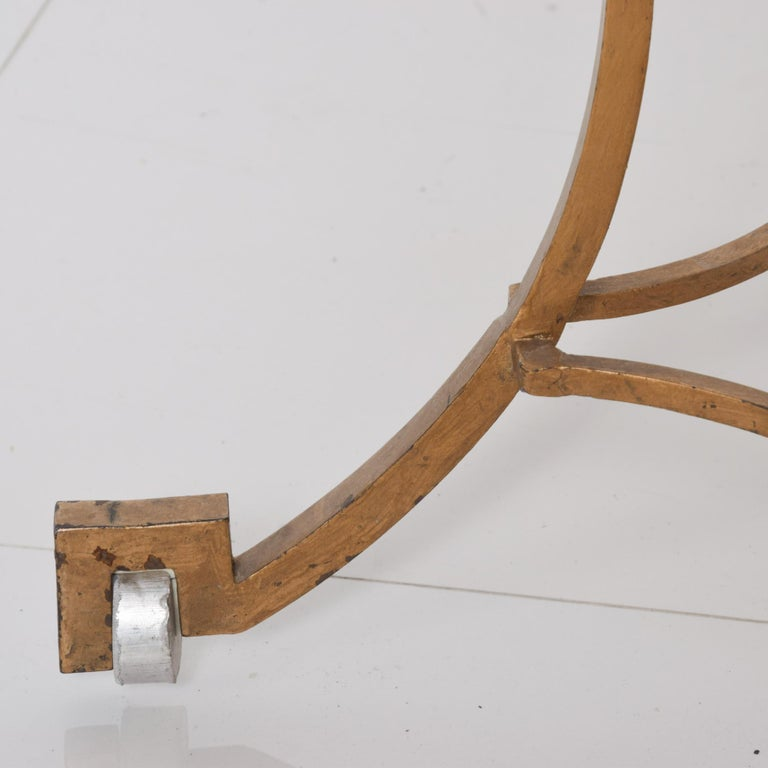 Talleres Chacon Arturo Pani Modern Side Table Gilded Iron Marble & Silver, 1960s For Sale 3