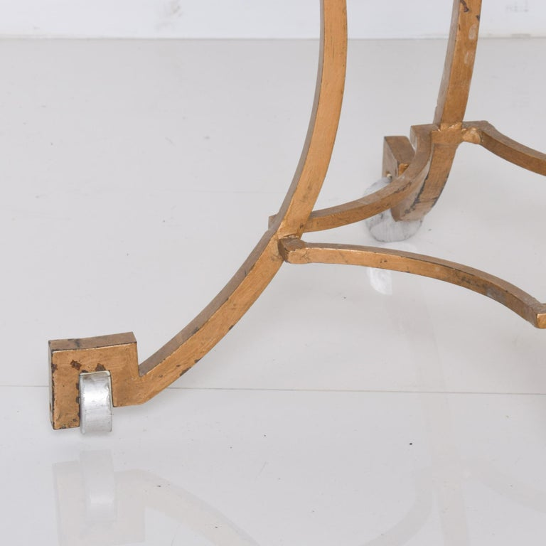 Mid-Century Modern Talleres Chacon Arturo Pani Modern Side Table Gilded Iron Marble & Silver, 1960s For Sale