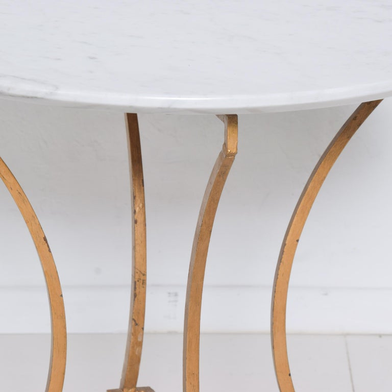 Mexican Talleres Chacon Arturo Pani Modern Side Table Gilded Iron Marble & Silver, 1960s For Sale