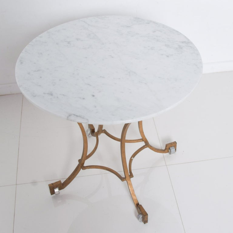 Talleres Chacon Arturo Pani Modern Side Table Gilded Iron Marble & Silver, 1960s In Good Condition For Sale In National City, CA