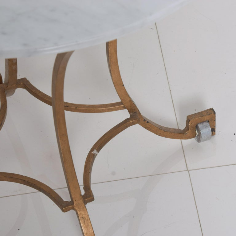 Talleres Chacon Arturo Pani Modern Side Table Gilded Iron Marble & Silver, 1960s For Sale 1