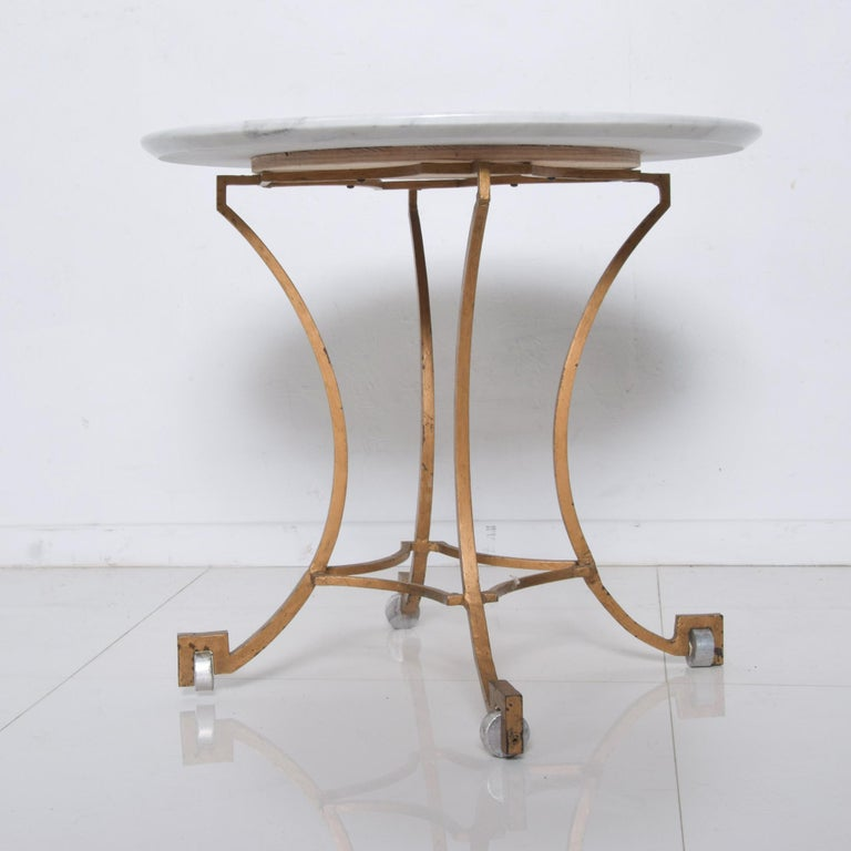 Talleres Chacon Arturo Pani Modern Side Table Gilded Iron Marble & Silver, 1960s For Sale 2