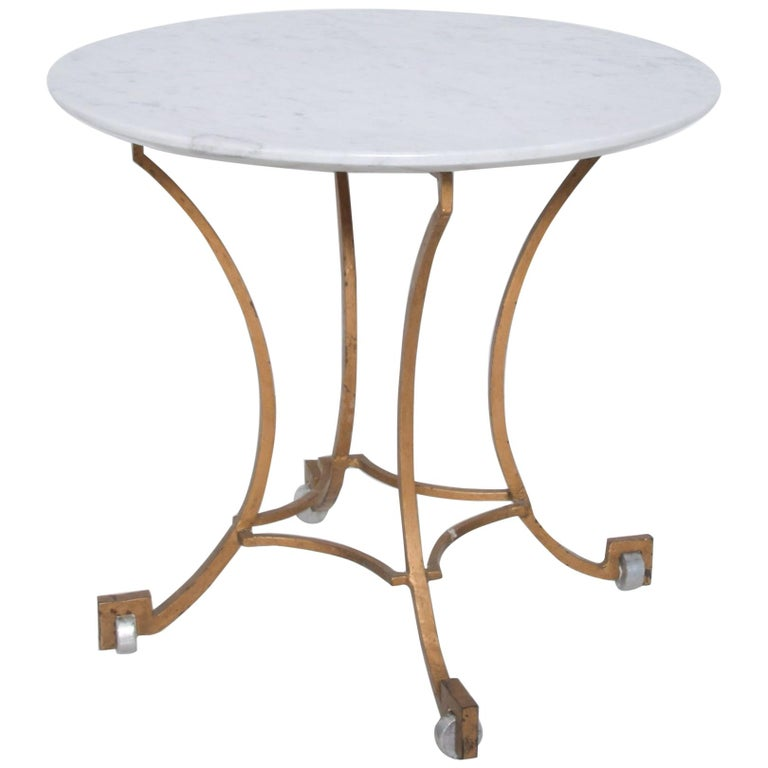 Talleres Chacon Arturo Pani Modern Side Table Gilded Iron Marble & Silver, 1960s For Sale