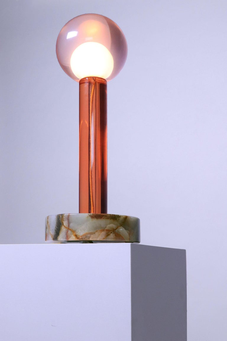 Other Tallo Green Lamp in Resin on Onyx Base For Sale