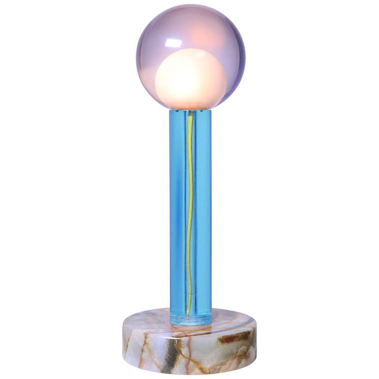 Tallo Green Lamp in Resin on Onyx Base For Sale