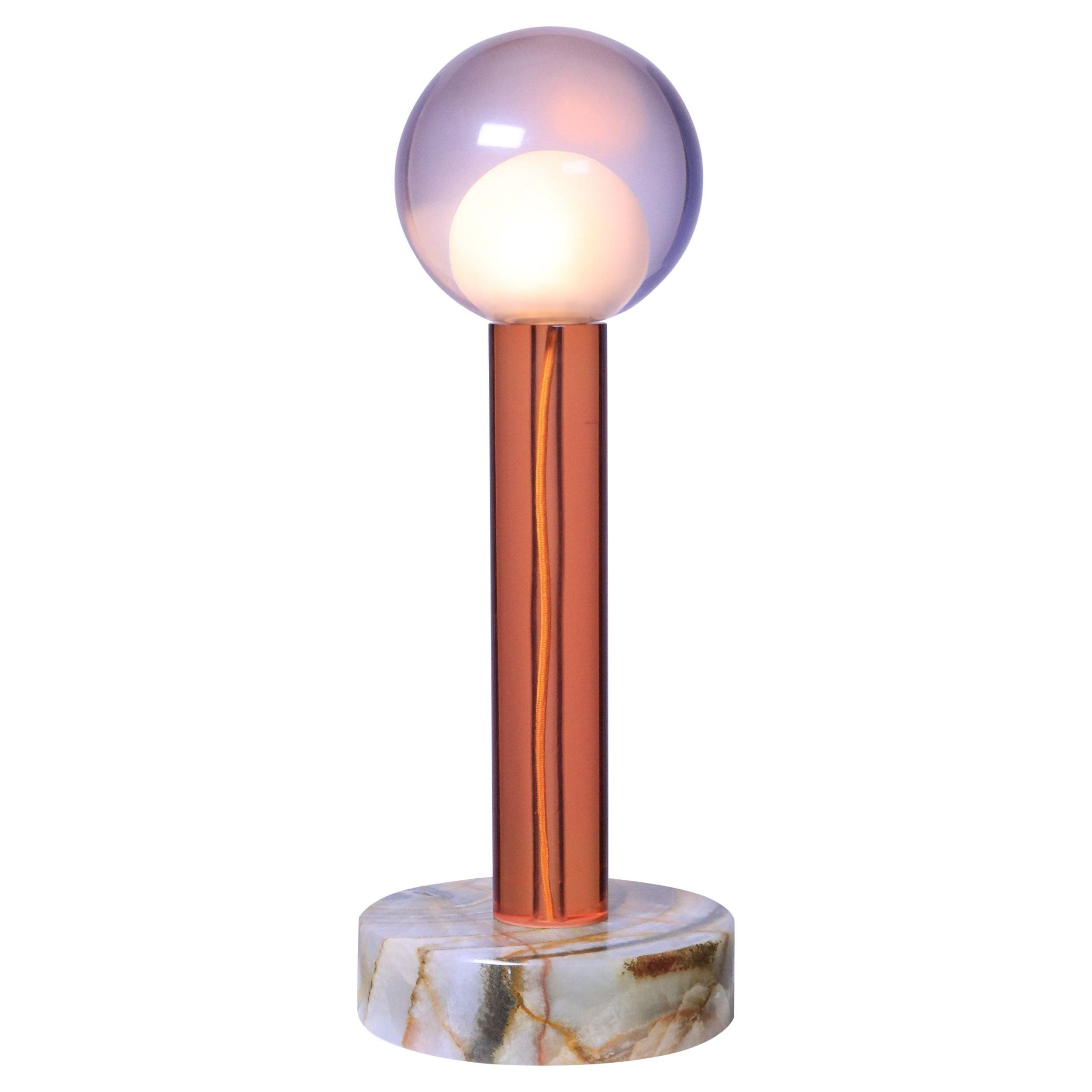 Tallo Orange Lamp in Resin on Onyx Base