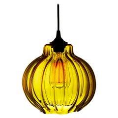 Tamala Contemporary Hand Blown Pendant Lamp in Golden Amber, Limited Series