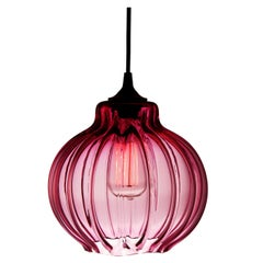 Tamala Contemporary Hand Blown Pendant Lamp in Luscious Pink, Limited Series