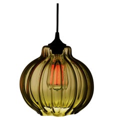Tamala Contemporary Hand Blown Pendant Lamp in Warm Olive