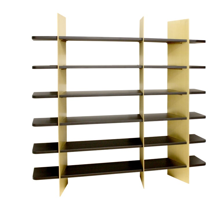 Modern Tamara Brass and Lacquered Wood Bookcase For Sale