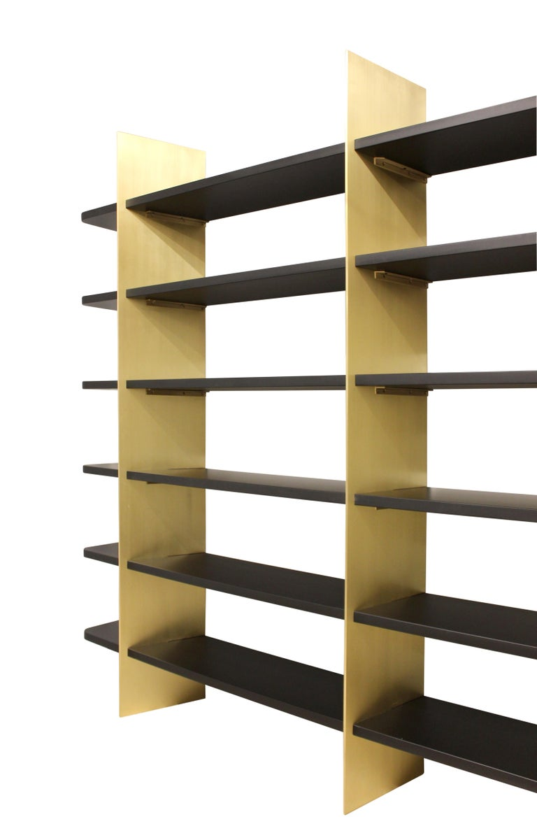 American Tamara Brass and Lacquered Wood Bookcase For Sale