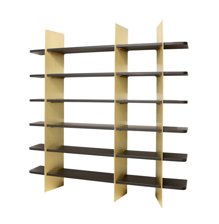 Tamara Brass and Lacquered Wood Bookcase In Excellent Condition For Sale In Brooklyn, NY