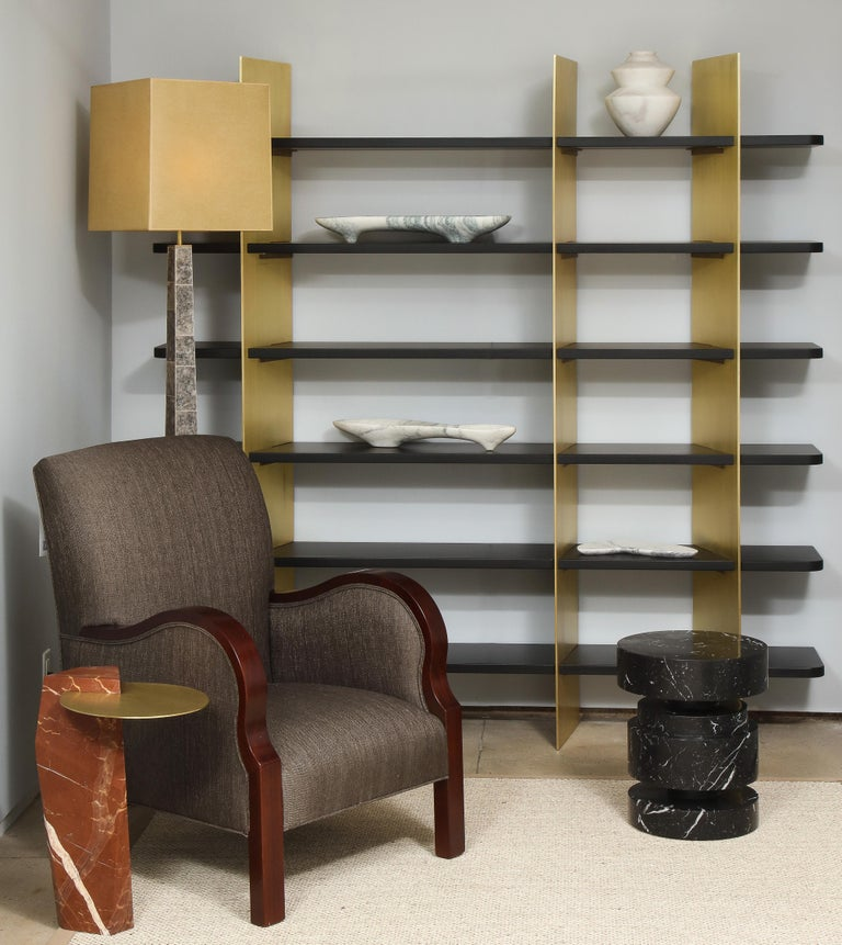Tamara Brass and Lacquered Wood Bookcase For Sale 1