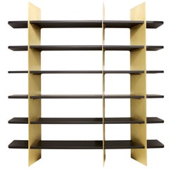 Tamara Brass and Lacquered Wood Bookcase