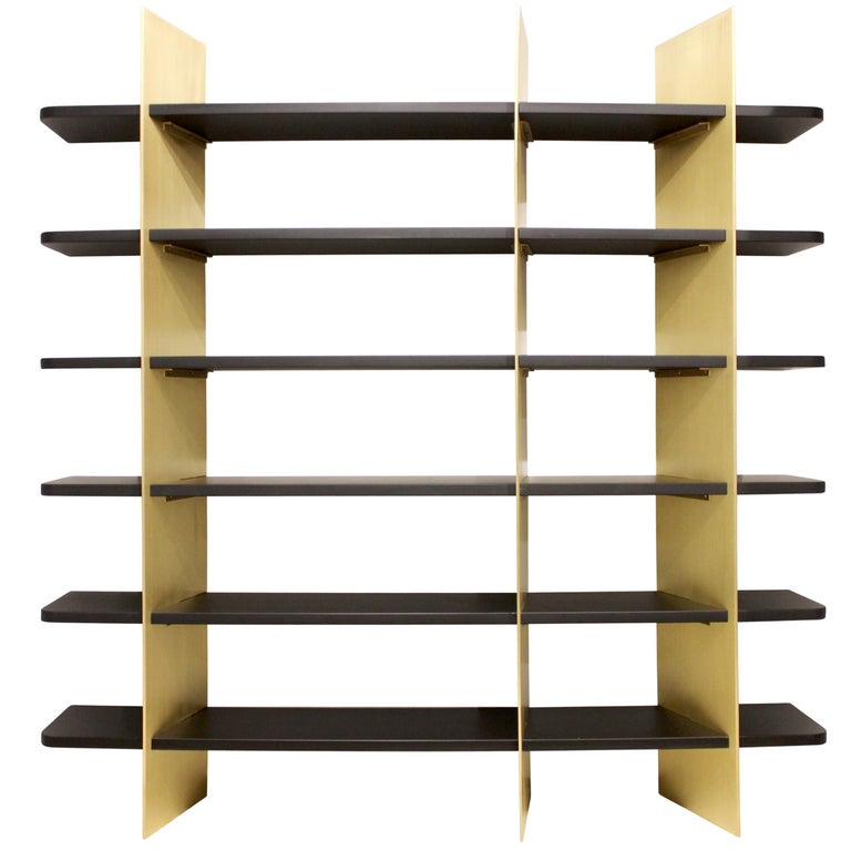 Tamara Brass and Lacquered Wood Bookcase For Sale