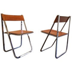 Tamara by Arrben Mid-Century Modern Chrome and Leather Folding Chairs, a Pair