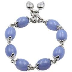 Tamara Comolli Coconut Bracelet Small Blue Chalcedony Olive Shaped- BCOSLBCHBLWG