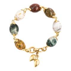 Tamara Comolli Coconut Ocean Jasper Large Yellow Gold Bracelet with Charms