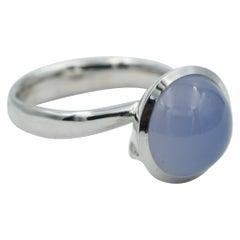 Tamara Comolli Large Bouton Blue Chalcedony Ring in 18K White Gold