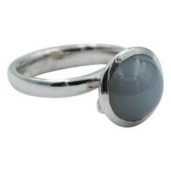 Tamara Comolli Large Bouton Grey Moonstone Ring in 18k White Gold