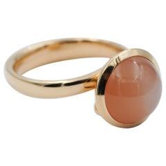 Tamara Comolli Large Bouton Orange Moonstone Ring in 18k Rose Gold