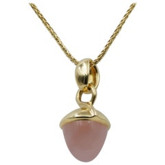 Tamara Comolli Mikado Bouquet Pink Chalcedony Pendant in 18K Yellow Gold