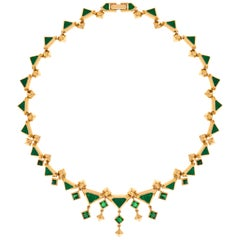 Tamara Emerald Crystal and Enamel & Gold Stainless Steel Art Deco Necklace